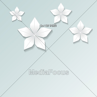 3d Render, Abstract White Paper Flowers, Pastel Floral Background, Decorative Design Elements Isolated On Blue Stock Photo