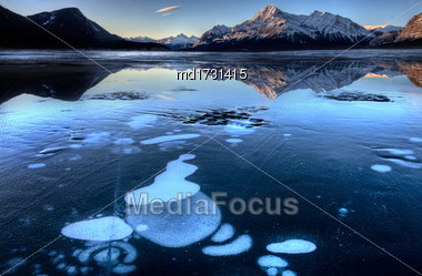 Abraham Lake In Winter Gas Bubbles Alberta Rocky Mountains Stock Photo