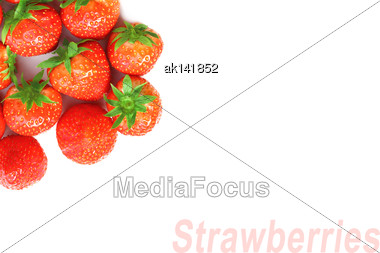 Abstract Background Of Fresh Red Strawberries. Placed On White Backdrop. Close-up. Studio Photography Stock Photo