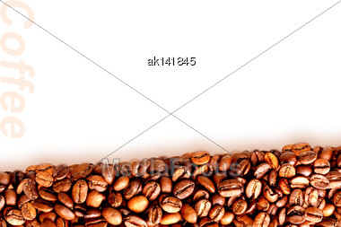 Abstract Background With Pile Of Roasted Black Coffee Beans. Placed On White Backdrop. Close-up. Studio Photography Stock Photo
