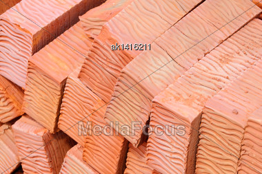 Abstract Background Of Red Bricks For Your Design. Close-up Stock Photo