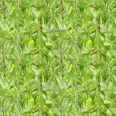 Abstract Camouflage Background With Natural Spring-summer Foliage. Seamless Pattern. Close-up Stock Photo