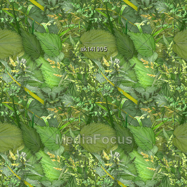 Abstract Camouflage Background With Natural Summer-autumn Foliage And Grass. Seamless Pattern. Close-up Stock Photo