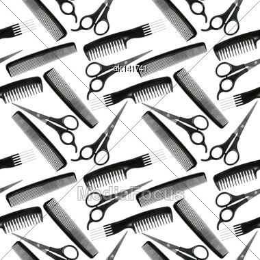 Abstract Seamless Pattern Of Black-and-white Hair-dressing Tools. Isolated On White Background. Close-up. Studio Photography Stock Photo
