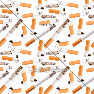 Abstract Seamless Pattern Of Cigarette Butt. Isolated On White Background. Close-up. Studio Photography Stock Photo
