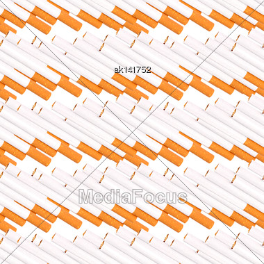 Abstract Seamless Pattern Of Cigaretts With Filter. Isolated On White Background. Close-up. Studio Photography Stock Photo