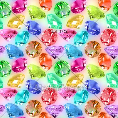 Abstract Seamless Pattern Of Motley Transparent Crystals On Spots Background. Close-up. Studio Photography Stock Photo
