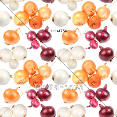 Abstract Seamless Pattern Of Multicolored Fresh Onions. Isolated On White Background. Close-up. Studio Photography Stock Photo