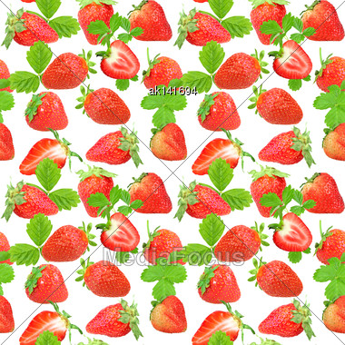 Abstract Seamless Pattern With Red Strawberries And Green Leafs Isolated On White Background. Close-up. Studio Photography Stock Photo