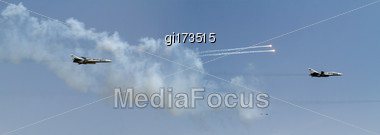 Aircraft Fighter Flies And Shoots Heat Guns In The Blue Sky Stock Photo