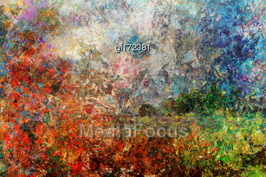 Artist's Palette Cleared Of Oil Paints, Creates The Impression Of An Abstract Picture Stock Photo