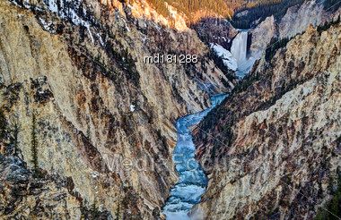 Artists Point Yellowstone Waterfall Valley Sunrise USA Stock Photo