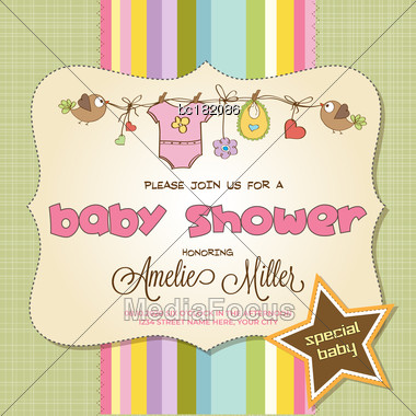 Baby Shower Card With Baby Clothings, Customizable Stock Photo