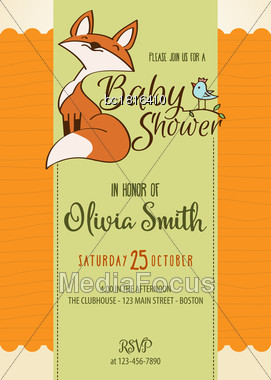 Baby Shower Card With Cute Little Fox,customizable, Printable 5 X 7 Inch Stock Photo