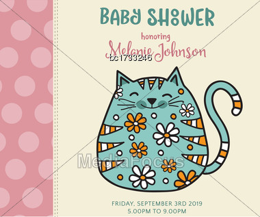 Baby Shower Card Template With Fat Doodle Cat, Vector Format Stock Photo