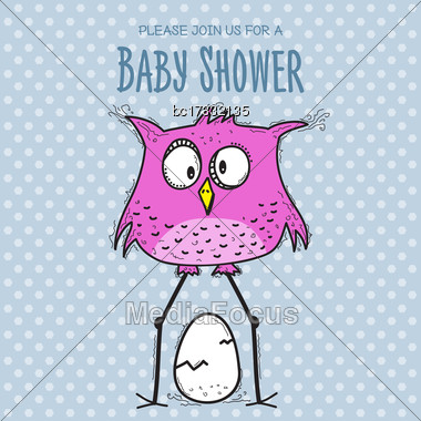 Baby Shower Card Template With Funny Doodle Bird, Vector Format Stock Photo