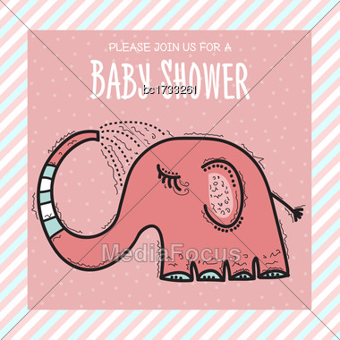 Baby Shower Card Template With Funny Doodle Elephant, Vector Format Stock Photo