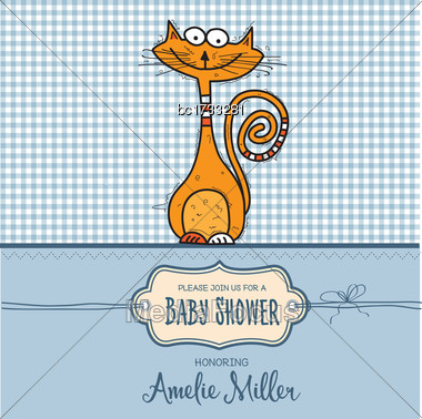Baby Shower Card Template With Funny Doodle Cat, Vector Format Stock Photo