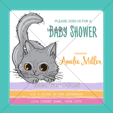 Baby Shower Card Template With Funny Doodle Kitten, Vector Format Stock Photo