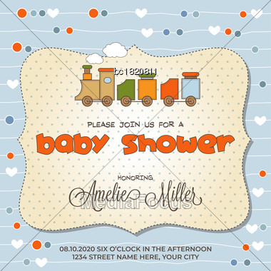 Baby Shower Card With Toy Train, Customizable Stock Photo