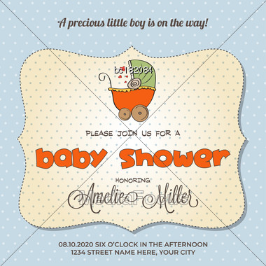 Baby Shower Card With Stroller, Customizable Stock Photo