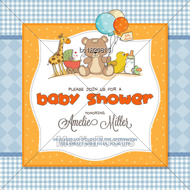 Baby Shower Card With Toys, Customizable Stock Photo