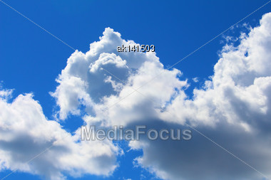 Background Of Blue Sky With White Clouds. Outdoor Nature Photography Stock Photo