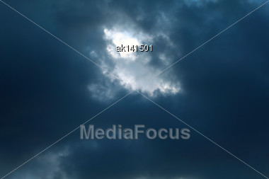 Background Of Dark Blue Sky With Clouds. Outdoor Nature Photography Stock Photo
