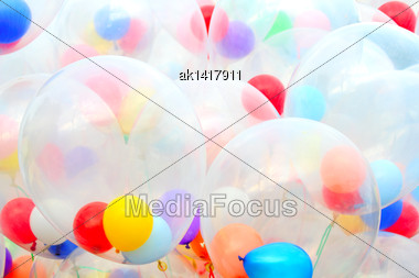 Background Of Motley Balloons. Close-up. Outdoor Photography Stock Photo