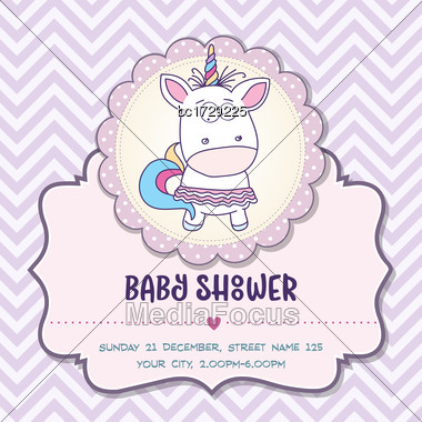 Beautiful Baby Shower Card Template With Lovely Baby Girl Unicorn, Vector Format Stock Photo