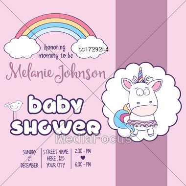 Beautiful Baby Shower Card Template With Lovely Unicorn Baby Girl , Vector Format Stock Photo