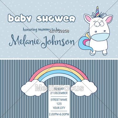 Beautiful Baby Shower Card Template With Lovely Baby Unicorn, Vector Format Stock Photo