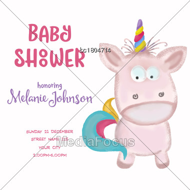 Beautiful Doodle Baby Shower Card Wirh Watercolor Unicorn, Vector Stock Photo