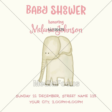 Beautiful Doodle Baby Shower Card Wirh Watercolor Elephant, Vector Stock Photo