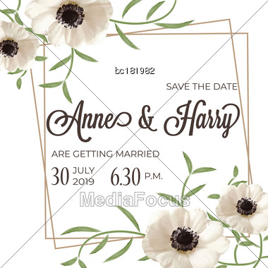 Beautiful Floral Wedding Invitation In Watercolor Style, Vector Format Stock Photo