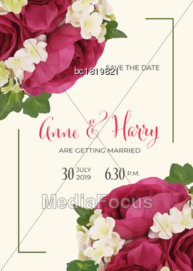 Beautiful Floral Wedding Invitation In Watercolor Style, Vector Format, 5 Inch X 7 Inch Stock Photo