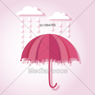 Beautiful Paper Art Vector Illustration With Umbrella And Rain Drops Stock Photo