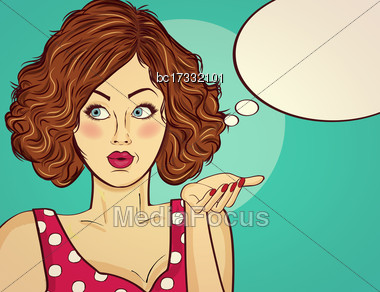 Beautiful Red-haired Lady, Gesticulate And Smile Stock Photo