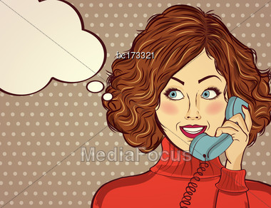 Beautiful Red-haired Lady, Speaks To A Retro Phone And Smile Stock Photo
