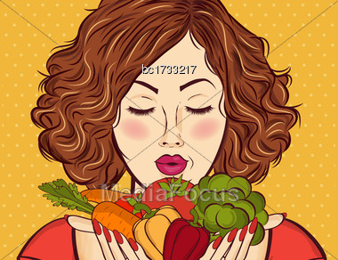 Beautiful Red-haired Lady With Vegetables In His Hands Stock Photo