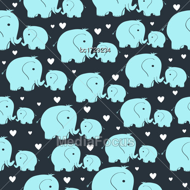 Beautiful Seamless Pattern With Morher And Baby Elephant Stock Photo