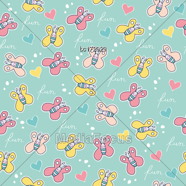 Beautiful Seamless Pattern With Doodle Butterflies Stock Photo