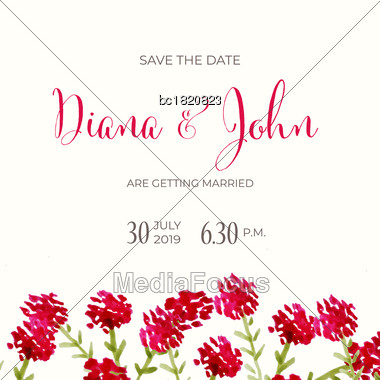 Beautiful Wedding Invitation With Watercolor Flowers. Save De Date Card. Vector Stock Photo