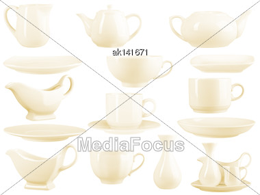 Beige Dinnerware Set Of 15 Pieces. Isolated On White Background. Close-up. Studio Photography Stock Photo