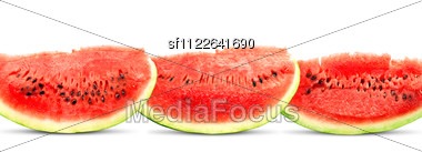 Big red watermelons isolated on white background Stock Photo