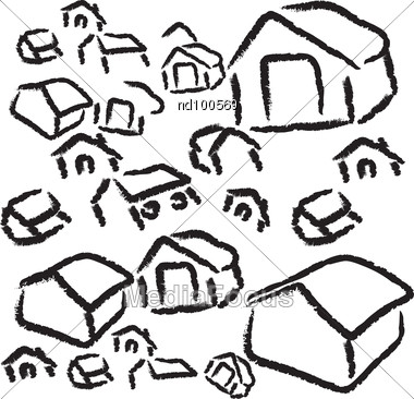Black And White Sketched Houses Stock Photo. Keywords: home cartoony cartoon