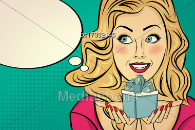 Blonde Lady With Gift In Her Hands, Pop Art Woman Stock Photo