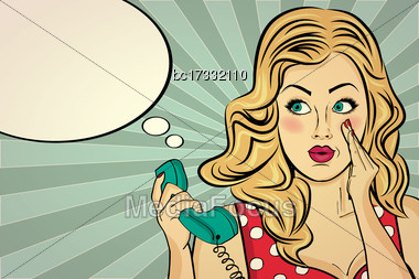 Blonde Lady Gossip At Retro Phone, Pop Art Woman Stock Photo
