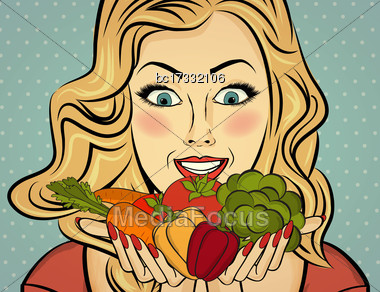 Blonde Sexy Lady With Vegetable In Her Hands, Pop Art Woman Stock Photo