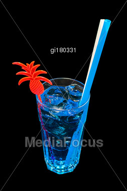 Blue Drink With Ice On A Black Background Stock Photo